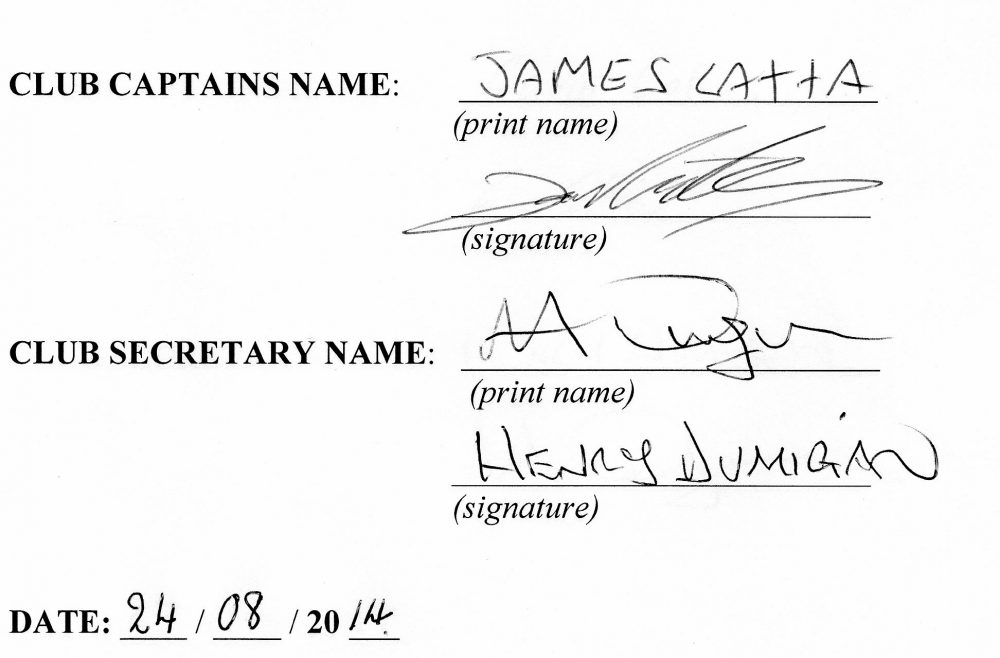 Club Captain signature