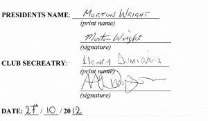 President, Secretary signature