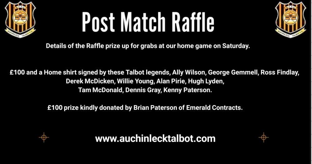 Talbot v Hurlford Post Match Raffle